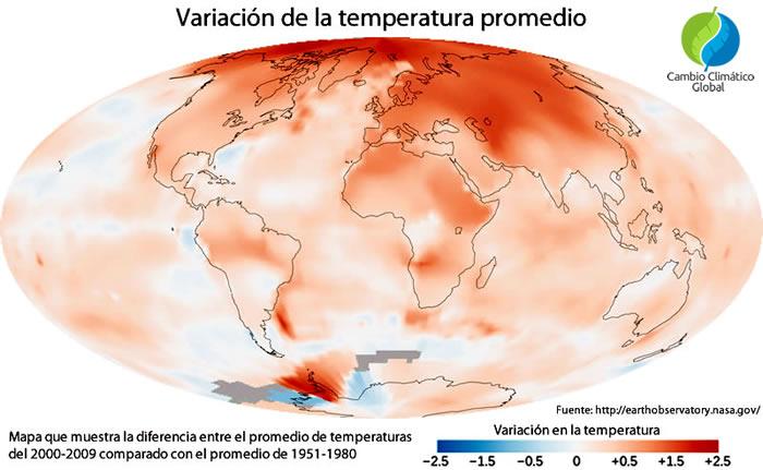 Cambio en las temperaturas promedio terrestres