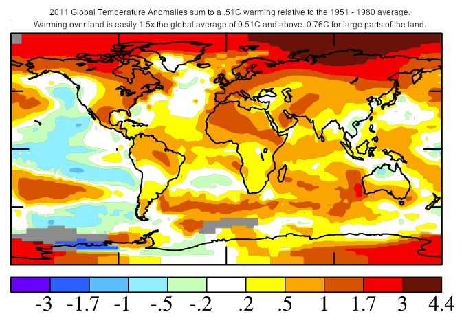 Cambios de temperatura de los océanos