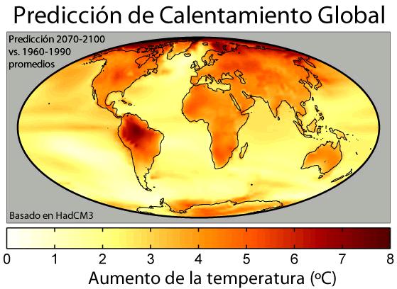 Calentamiento global proyectado con el modelo climático HadCM3