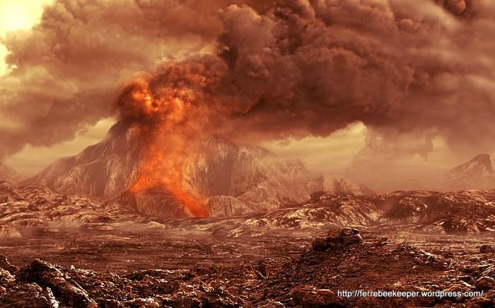 Interpretación artística de la superficie de Venus