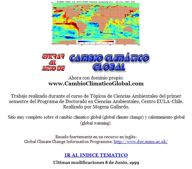 Sitio del Cambio Climatico en el 2001