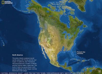 Si todo el hielo se derrite así se verá Norteamérica, si vives en la costa, es hora de mudarse.