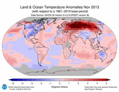 Anomalía de temperatura Noviembre 2013