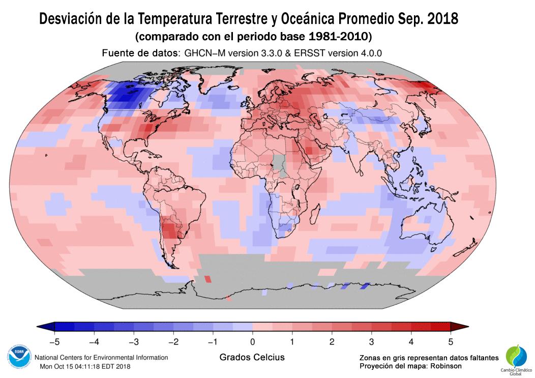 Desviación de la Temperatura Terrestre y Oceánica Promedio Septiembre 2018 Anomalía térmica